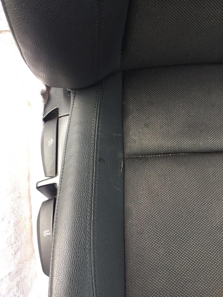 Bmw 1s seat squab with a split pvc side.